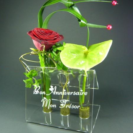Présentoir Vase 3 Fleurs Design